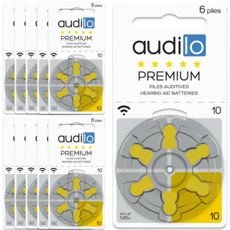 Piles Auditives Audilo Premium 10 Lot de 10 Plaquettes (60 piles auditives)