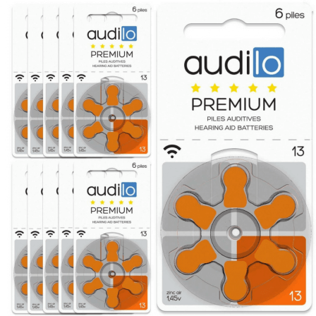 Piles Auditives Audilo Premium 13 Lot de 10 Plaquettes (60 piles auditives)